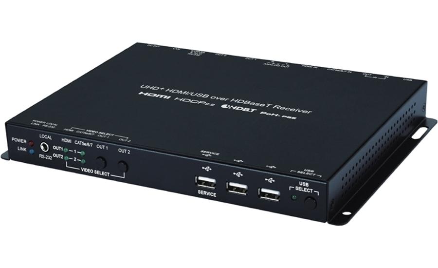 Cypress CH-2603RX - Матричный коммутатор 2х2, вход HDMI 4K/60, приемник из HDBaseT 2.0, стереоаудио в сигнал HDMI 4K/60 с HDCP и независимый HDBaseT