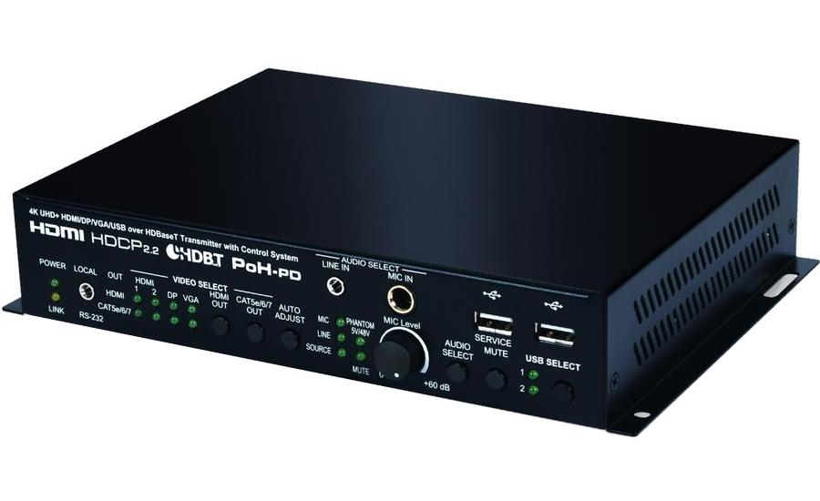 Cypress CH-2603TX - Матричный коммутатор 4х2, передатчик 2 х HDMI 4K/60, DisplayPort 4K/60, VGA 1080p, стереоаудио в сигнал HDMI 4K/60 (4:4:4) с HDCP и независимый HDBaseT 2.0