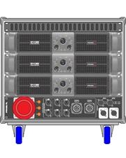 Axiom AXRACKS1 - Вспомогательный рэковый шкаф 9U с тремя усилителями HPX8000, процессором и панелью SDISTRO03