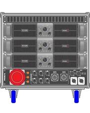 Axiom AXRACKS2 - Вспомогательный рэковый шкаф 9U с тремя усилителями HPX6000, процессором и панелью SDISTRO03