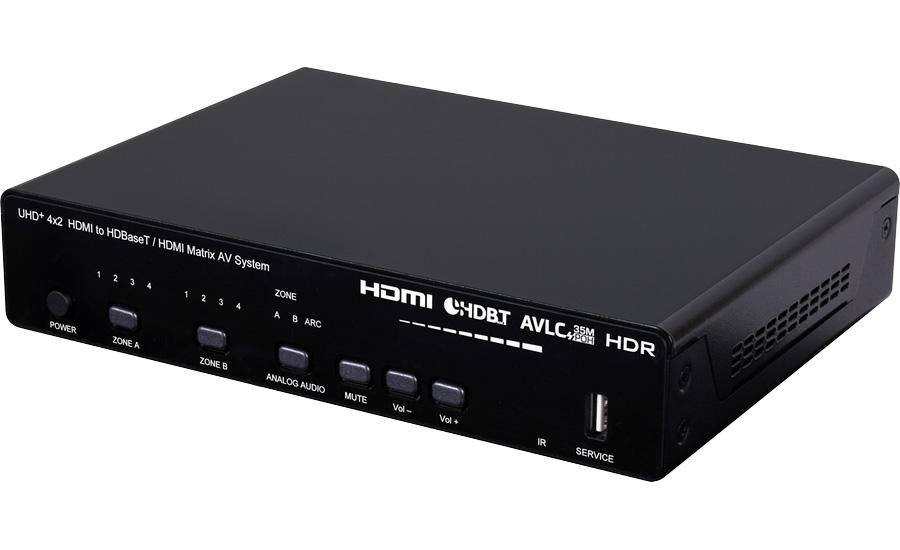 Cypress CPLUS-421PLV - Матричный коммутатор 4х2 HDMI 2.0 UHD 4K с HDCP 1.4/2.2 с выходами в витую пару, расширенный EDID