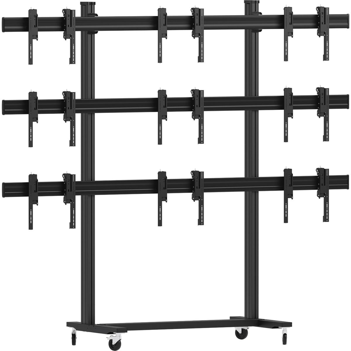 Vogels FT3344 Black - Напольный мобильный стенд для видеостены 3х3 из дисплеев диагональю 49–55'', альбомная ориентация, макс. нагрузка 396 кг