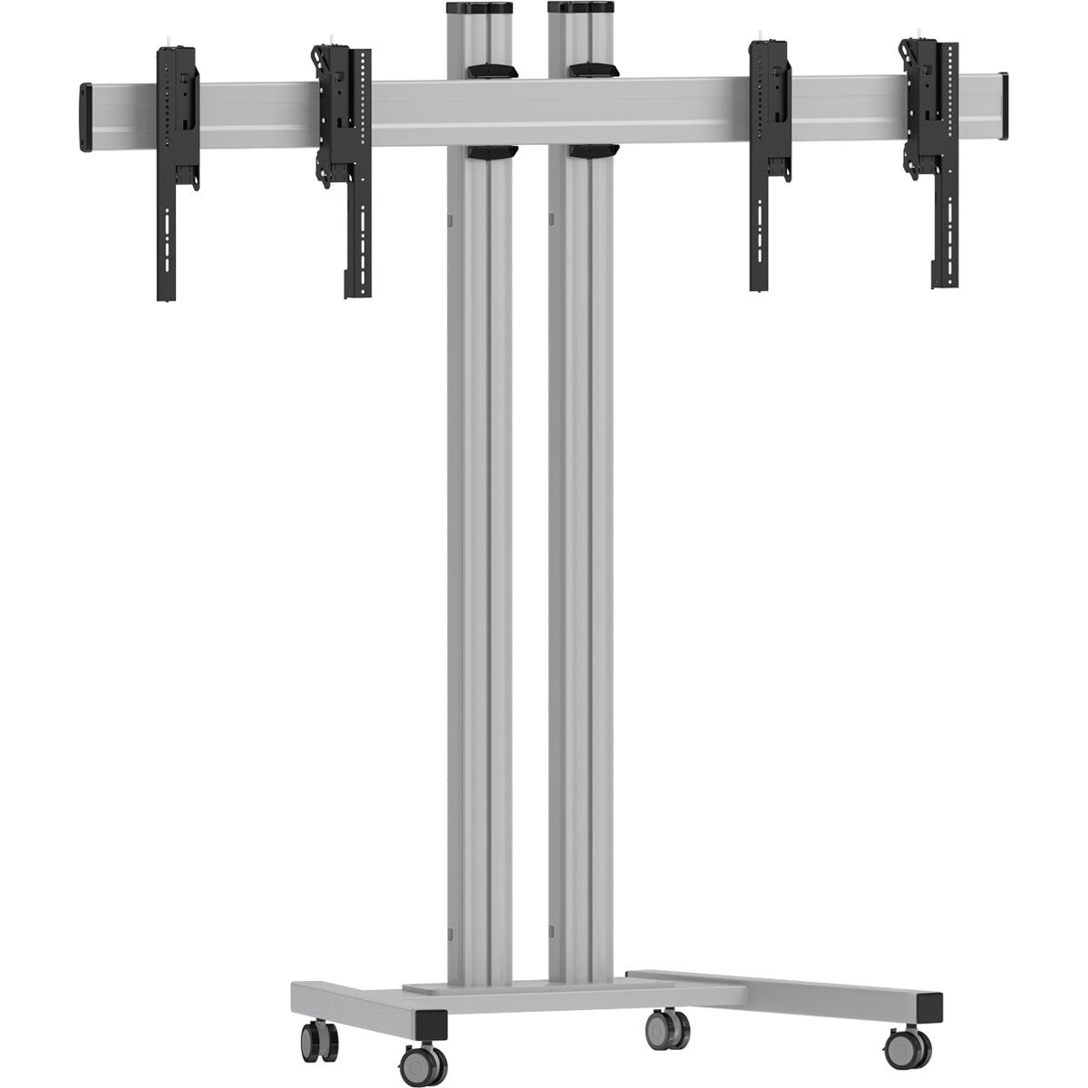 Vogels FT1264 Silver - Напольный мобильный стенд для видеостены 1х2 из дисплеев диагональю 42–55'', альбомная ориентация, макс. нагрузка 160 кг