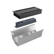Kondator 935-K44CB - Комплект розеточной станции Conference Small серии Axessline с лючком, розеточный блок 935-T2UD (2 розетки, 2xUSB-питание, 1xHDMI, 2хRJ45, 2xUSB), черный