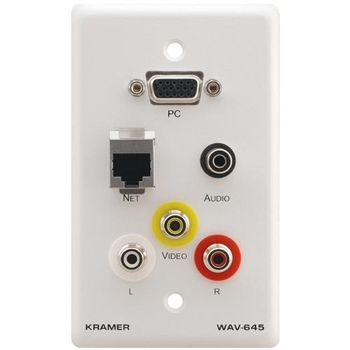 Kramer WAV-645 - Настенная панель-переходник с проходными разъемами для VGA, RJ45, стереоаудио и 3 разъемами RCA