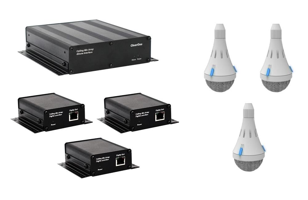 ClearOne CM Array2/W Bundle C - Комплект из 3 белых потолочных микрофонных массивов с выходом Dante, 3 передатчиков и приемника