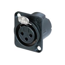 Neutrik NC3FD-LX-BAG - Панельный разъем XLR 3-pin (розетка) с фланцем типа D и двойным заземляющим контактом, под пайку, цвет черный