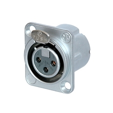 Neutrik NC3FD-LX-HE - Панельный разъем XLR 3-pin (розетка) с фланцем типа D и двойным заземляющим контактом, под пайку