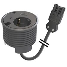Kondator 935-PD16-GST - Встраиваемая розетка с двумя уровнями установки для монтажа в стол со встроенными разъемами 1xUSB QC 2.0, 1xUSB-C 3.1 Gen 1, одним отверстием для кабеля 7 мм и одним — 9,5 мм