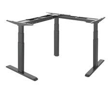 ErgoFount BSSD-10-90/S33 - L-образное 90° основание стола для работы стоя и сидя, с электроприводом на телескопических опорах 620–1280 мм, макс. нагрузка 150 кг