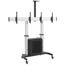 ErgoFount SM-100-60/2CTV - Мобильная стойка с регулировкой высоты для двух дисплеев диагональю 37–60'', макс. нагрузка 2x50 кг, серебристая с черным