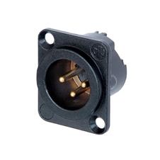 Neutrik NC3MD-LX-B - Панельный разъем XLR 3-pin (вилка) с фланцем типа D и двойным заземляющим контактом, под пайку, цвет черный