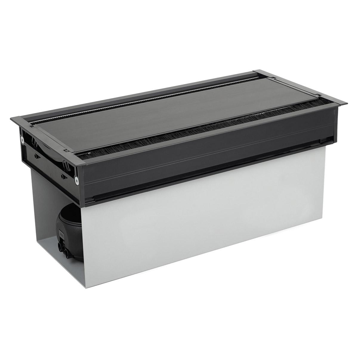 ABL 2U200MID - Короб для установки розеточных станций серии Link под стол с лючком длиной 347 мм, черный