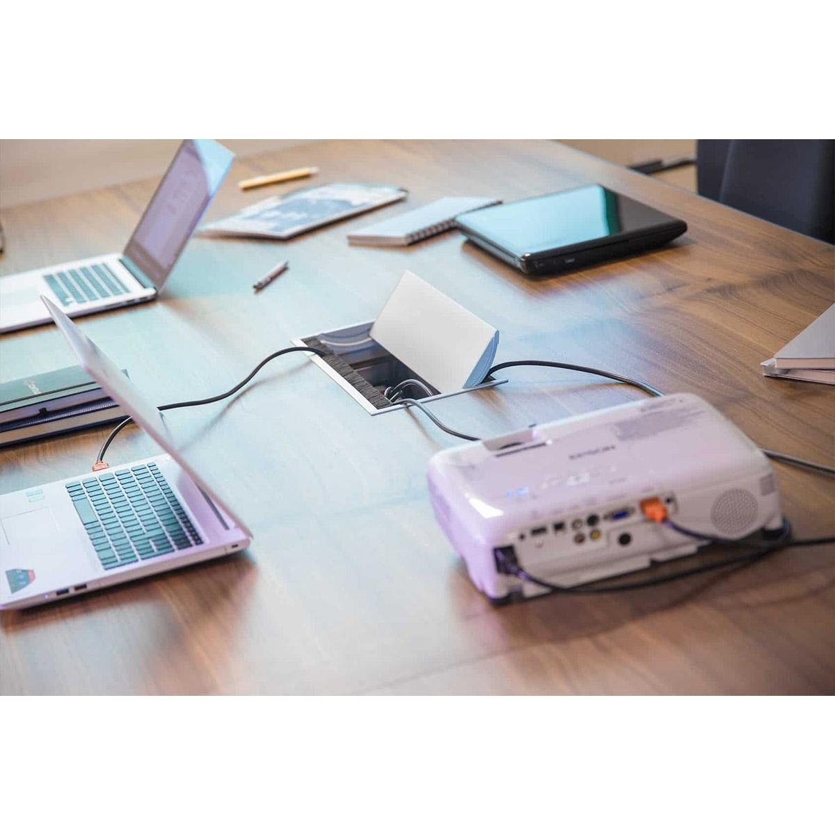 ABL 2U210MIN - Короб для установки розеточных станций серии Link под стол с лючком длиной 247 мм, белый