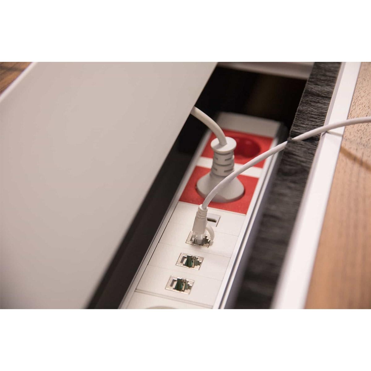 ABL 2U220MID - Короб для установки розеточных станций серии Link под стол с лючком длиной 347 мм, серебристый